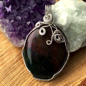 Bloodstone Pendant - Wire Wrapped in Sterling Silver